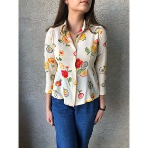 VINTAGE | 70's colored floral top